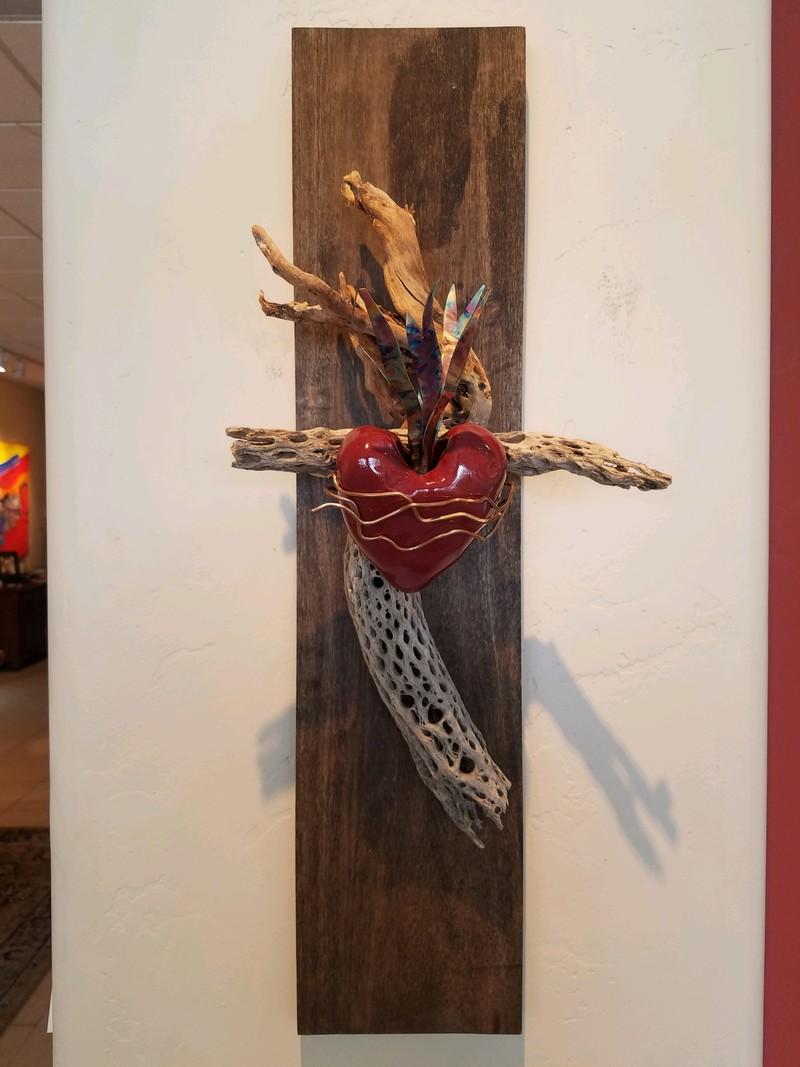 Mounted Sacred Heart Cross on Wood