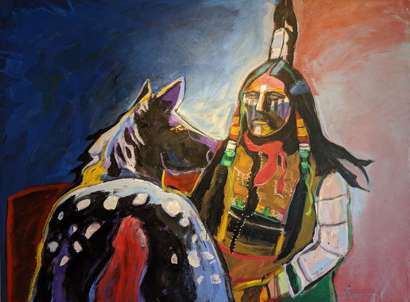 Cheyenne Chief with War Pony