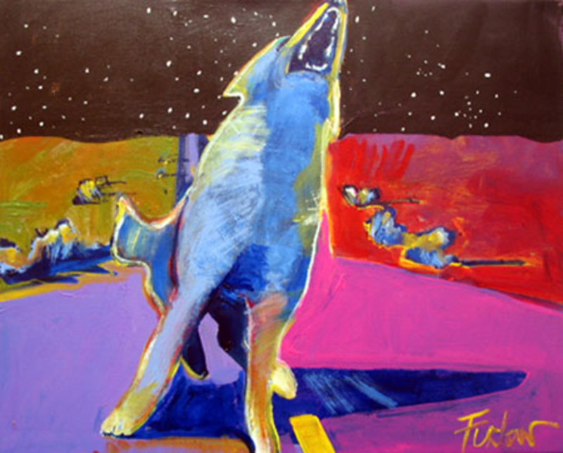 Howling Coyote on the Highway