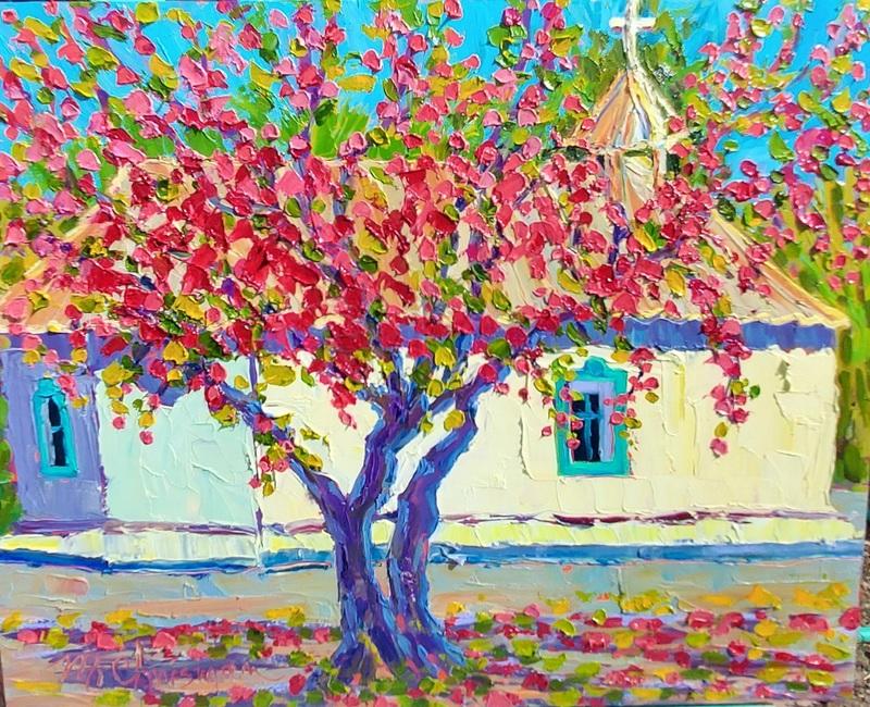 Apple Blossoms at Santa Cruz Chapel